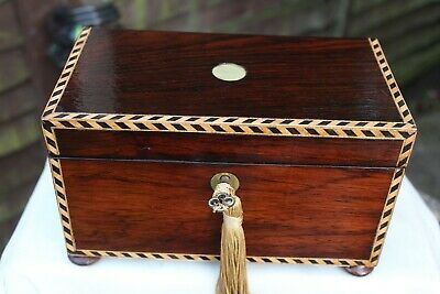 NEAT c 1880 TUNBRIDGE BANDING ROSEWOOD JEWELLERY BOX TRINKET TRAY CARRYING HAND