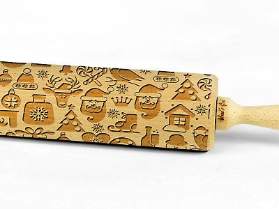 Engraved XMAS PATTERN rolling pin wooden laser cut unique design christmas