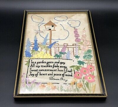 Vintage 1930s Needlepoint Tapestry Framed Art Picture Garden by Patience Strong