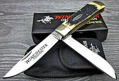 Winchester Super Trapper Stag Handles 2 Blade Large Traditional Folding Knife