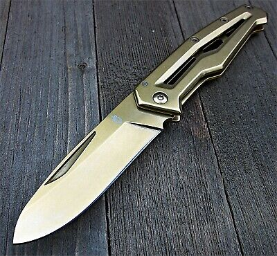 Gerber Champagne Finish 5Cr13MoV Blade Paralite Framelock Folding Pocket Knife