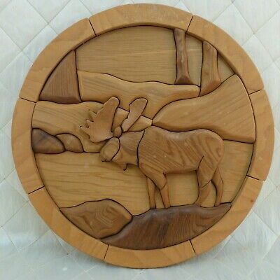Intarsia Wood Art Moose Carved BC Western Red Cedar Canada Signed JM 2005