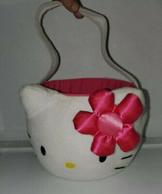 "Hello Kitty Girls Trick Or Treat Halloween Candy Bucket Basket Pink Bow 6"" Deep"