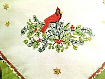 """Duftin CARDINAL Tablecloth stamped Embroidery Kit - 29.5"""" x 29.5"""" TA5386"""