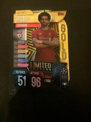 Match Attax 2019/20 Mohamed Salah Gold Limited Edition Le1G Mint