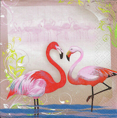 Lot de 2 Serviettes en papier Flamant Rose Decoupage Collage Decopatch