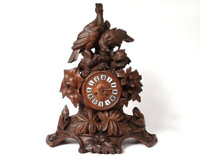 Large Pendulum Wood Carved Black Forest Birds Partridge Clock Xixè Century