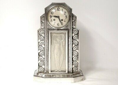 Pendulum Art Deco Hettier & Vincent Bronze Silver Glass Woman Clock Twentieth