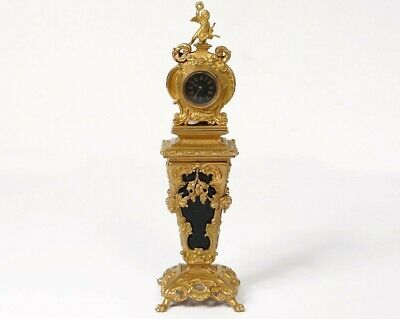 Clock Parquet Miniature Bronze Golden Angel Moss Agate Clock 19th