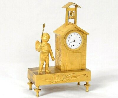 Clock Bronze Golden Angel Pilgrim Chapelle Steeple Clock Empire 19th