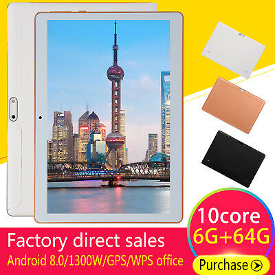 10,1 Zoll 64GB Tablette WiFi/WLAN Tablet PC 10 Core 6GB Android 8.0 Dual Kamera