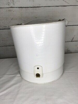 Vintage Wig Box Carrying Case White Faux Snakeskin Vinyl