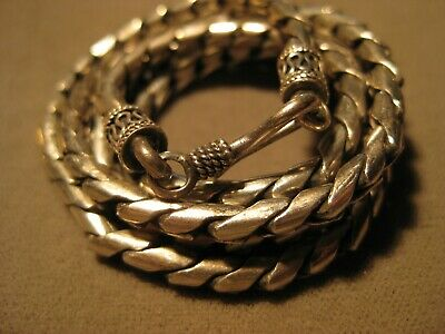 """Bali 925 Sterling Silver 4MM Interlocking Rope Wheat Chain Necklace - 20"""" 34.6gr"""