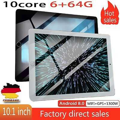 10.1 Zoll 64GB WiFi/WLAN Tablet PC 10 Core 6GB Tablette Android 8.0 Dual Kamera