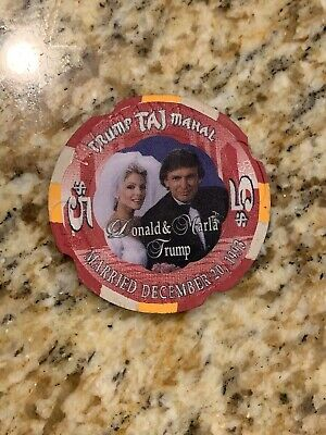 RARE PAULSON SAMPLE! Trump Taj Mahal $5 Casino Wedding Chip NOTCHED PROTOTYPE