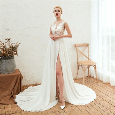 Chiffon Beach Boho Wedding Dresses 2019 A line High Split Mariage Bridal Gowns