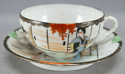 Late 19th Century Kutani Porcelain Hand Painted Samurai Tea Cup & Saucer C