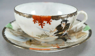 Late 19th Century Kutani Porcelain Hand Painted Samurai Tea Cup & Saucer B