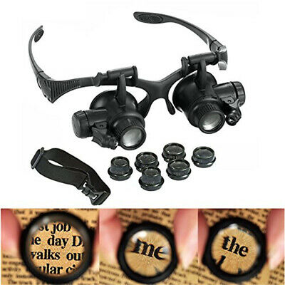 8 Lens Magnifier Magnifying Eye Jeweler Glass Watch Repair Loupe W/ LED Light AU
