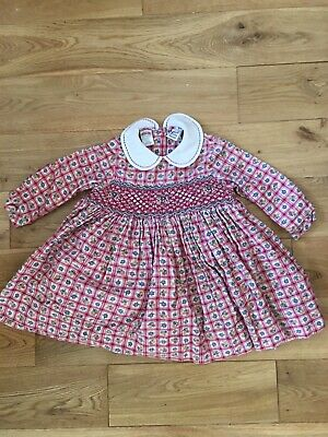 Vintage Sarah Louise Hand Smocked Baby Girl Check Floral Dress 18 Months