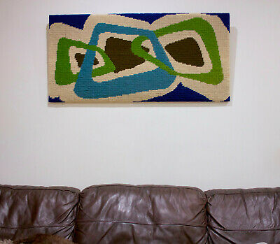 Mid Century 1970s Vintage Wall Hanging Art Woollen Hand Hooked Woven Tapestry