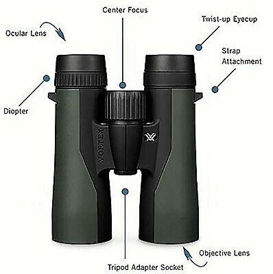 Vortex Optics Crossfire Roof Prism Binoculars 10x42 Wide View Hunting Binocular