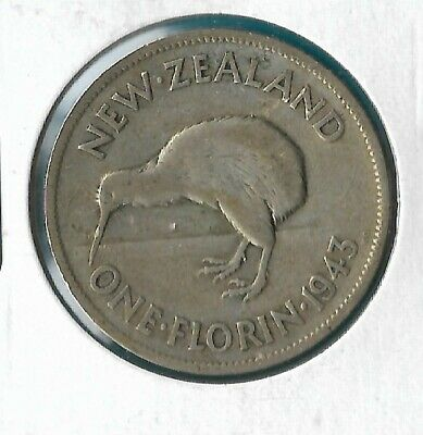 NEW ZEALAND 1943 KING GEORGE VI .500 SILVER FLORIN 2/- COIN (No 1)