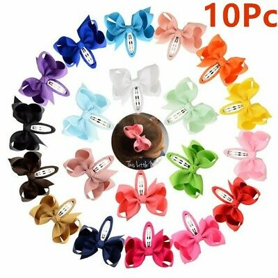 10x Girls kids Baby bow hair clips sides snaps children Ribbon hair accessories