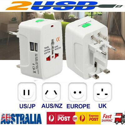 International Universal Travel Power Adaptor Converter 2 USB Charger AU/UK/US/EU
