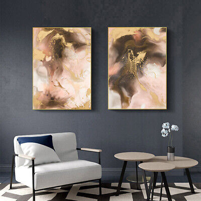 Golden Watercolor Ink Painting Poster Canvas Art Abstract Print Modern Decor