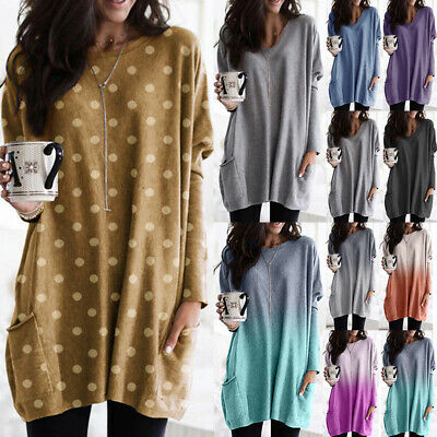 UK Womens Long Sleeve Pockets Baggy Blouse Shirt Jumper Pullover Tops Plus Size