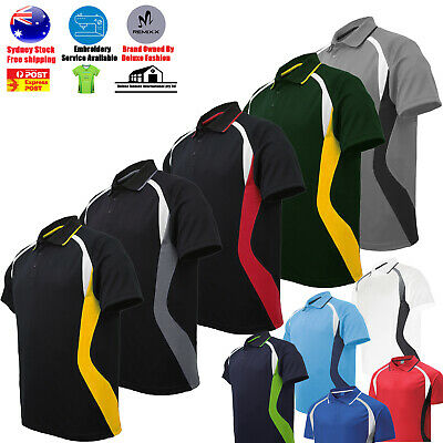 Mens Polo Shirt Short T Shirt  Cool Dry Breathable Contrast Sports Polo Sport