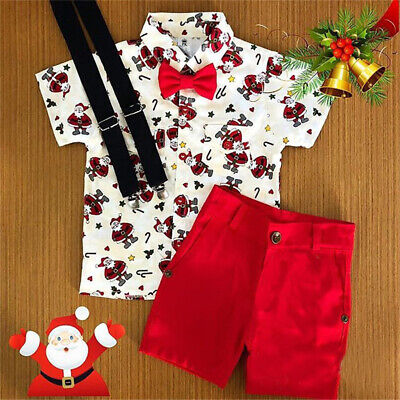 AU Baby Boy Christmas Outfits Kids Santa Claus Shirt & Shorts Pants Xmas Clothes