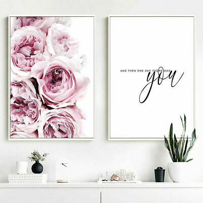 Peony Flower Motivational Canvas Poster Print Wall Art Picture Living Room Decor