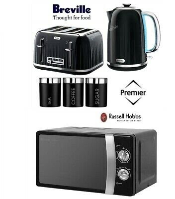 Black Breville Kettle and Toaster Set & Russell Hobbs Microwave & Canister Set