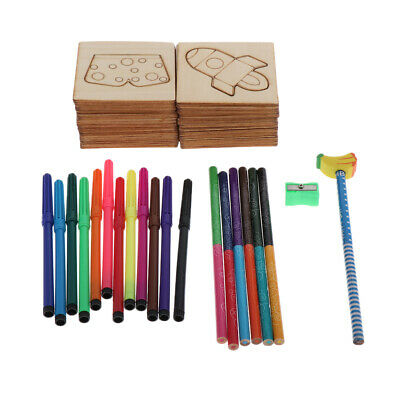 Wooden Fun Drawing Stencils Kits for Kids Templates Set DIY Arts and Crafts