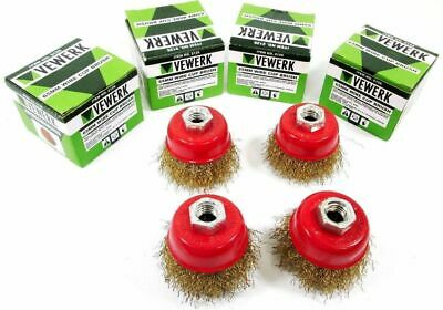 Rotary Wire Cup Brush 65mm M14 Rust Removal Brass Wheel VEWERK 2126