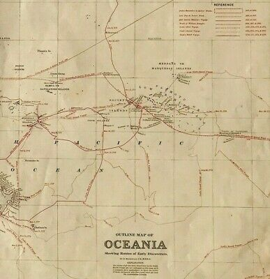 Large Antique Map OCEANIA c1886 Early Discoveries original engraved, colour
