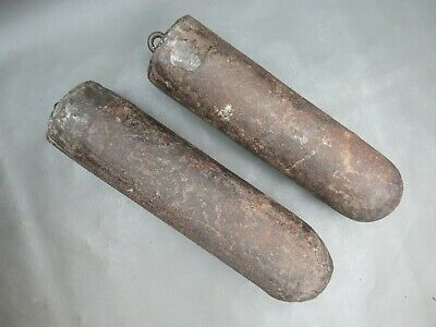 A pair of antique cast iron Grandfather Longcase clock weights - spares parts