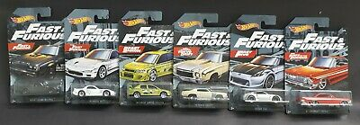 Hot wheels 2019 Fast And Furious Full Set Lot of 6 Cars.