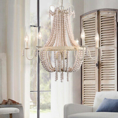 Farmhouse Style Distressed Wood Beaded Chandelier Beige 9-Light Pendant Lamp E12