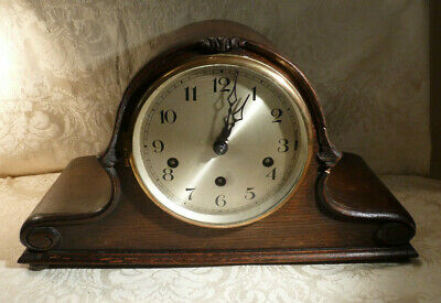 Vintage German Oak Mantle Clock 3 Train (rare) Spring Balance westminster Chime