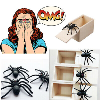 Wooden Prank Spider Worm Scare Box Funny Practical Joke Gag Toys Trick Startle
