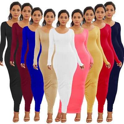Casual Women Ladies Long Sleeve Bodycon Dress Solid Color Party Clubwear Dresses