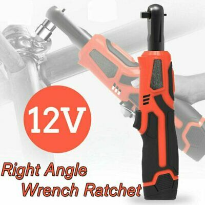 12V 3/8'' 65Nm Electric Cordless Right Ratchet Angle Wrench Tool +Battery Orange