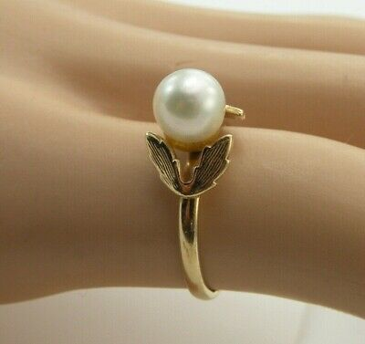 SOLID 14kt Yellow Gold Natural 6mm White Pearl Ring Sz 6 Leaf Design 2.25 Grams