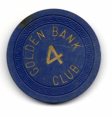 Golden Bank Club Roulette 4 Casino Chip Reno NV TCR# N7271.nv Small Key Mold