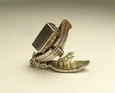Vintage Rare 3D Noah's Ark Religious Charm Opens To Animals Sterling Silver 925