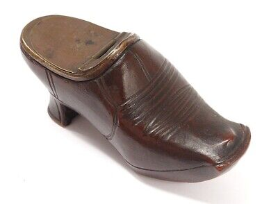 Large Snuffbox Shoe Clog Wood Carved Popular Art Snuffbox Xixè
