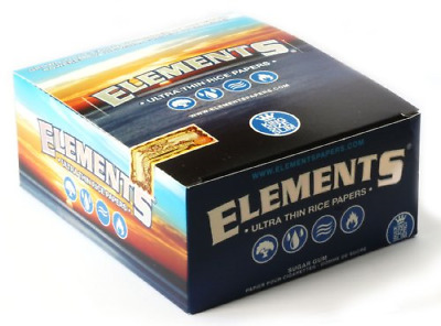 Elements King Size Slim Ultra Thin Rice Rolling Paper Full Box of 50 Packs